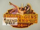 Wandschild(Gestanzt) Liquor Guns & Ammo L52x42cm