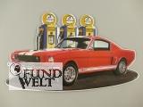 Wandschild(Gestanzt) Ford Mustang rot 49x28cm