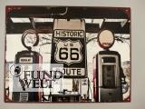 Wandschild Eisen Route 66 Tankstelle H.25x33cm