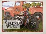 Wandschild Eisen Motorrad Indian & Auto H.25x33cm