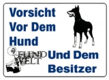 Blechpostkarte - Vorsicht vor dem Hund und dem Besitzer - 15x10,5cm