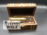 Nautikset Messing Holzdose L.17cm - Lupe - Kompass - Fernrohr