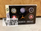 Blechpostkarte - Mercedes Benz - Logo`s - Postkarte aus Metall 14x10cm